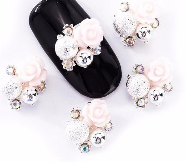 10pcs/lot 3d Nail Art Decoration Flower Design 2 Colors Choice Rhinestone Alloy Accessory Supplies Of Nails Tn1959