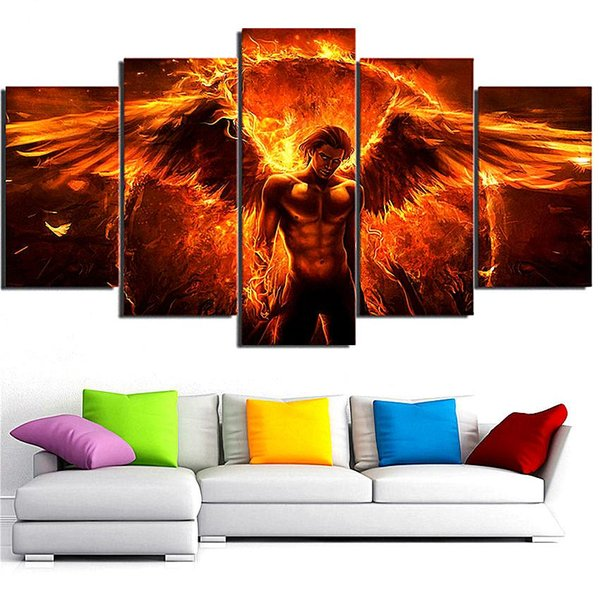 Black Magic Flame Angel,5 Pieces Home Decor HD Printed Modern Art Painting on Canvas (Unframed/Framed)