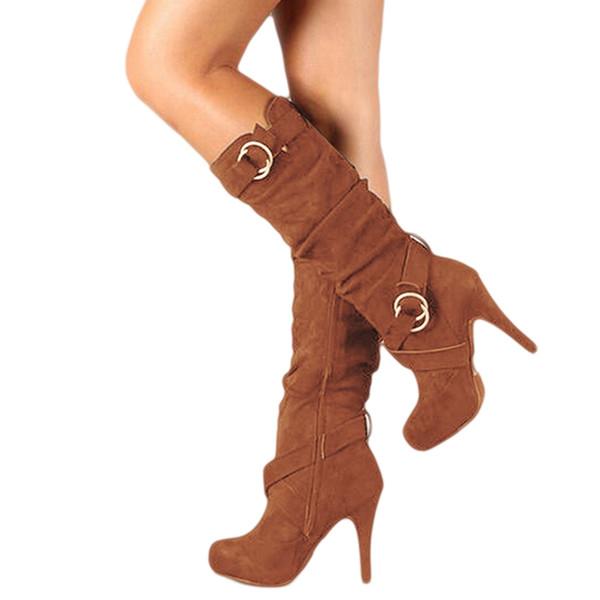 Moda Çizme Seksi Lady Yüksek Topuklar Diz Yüksek Boots Sahte Süet Deri Kadınlar Plus Size Ayakkabı Kadın 402.142