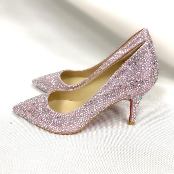Designer Red bottom Women dress shoes Rhinestones wedding shoes Sexy pointed toe high heel slip on stiletto pumps basic shoes