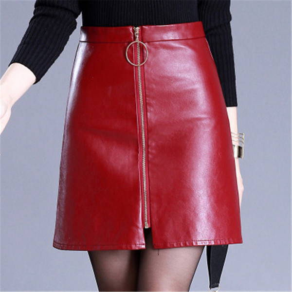Printemps Eté taille haute Jupes Casual PU cuir Jupe femme élégante Zipper Mini Jupe Lady Skinny noir Jupes en cuir
