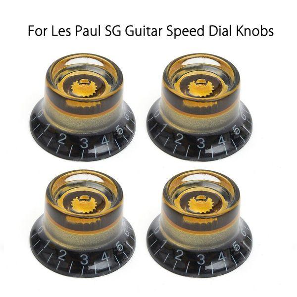 4 pcs Black Gold Guitar Knobs Volume de Controle de Velocidade Tone Para Guitarra Guitarra Substituição Guitarra Elétrica Acessórios de Baixo