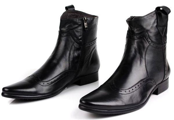 Moda negro / marrón bronceado punta estrecha botas de moto Botas de vaquero para hombre Botas de cuero genuino tobillo masculino