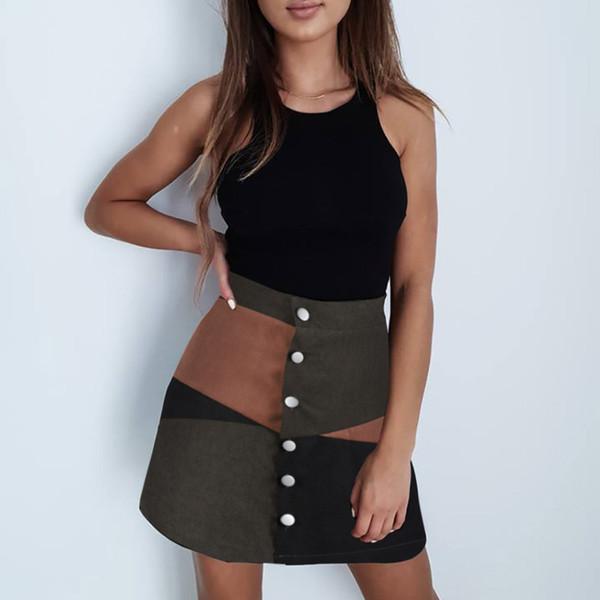 Mini gonna casual da donna con bottoni a palloncino in stile patchwork color block botton