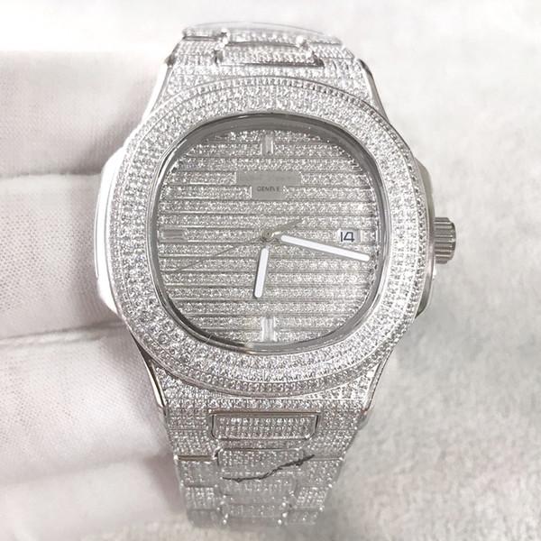 Melhor Qualidade Nautilus Diamante wach para homens Japão Automático prata 40mm rosto Inoxidável Conjunto Diamante manual Congelado Para Fora Mens Watch Vida À Prova D 'Água