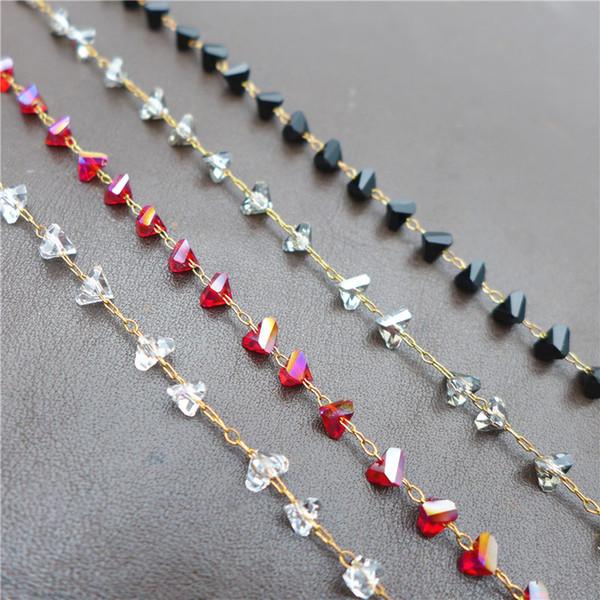 Nuevo 6mm perlas de triángulo de vidrio cadenas hechas a mano de cobre, bronce, bronce, collar, joyas, bricolaje, digitaciones, venta al por mayor, 39.3