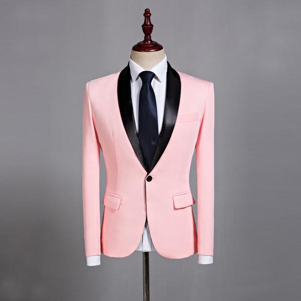 Mens Katı Pembe Blazer Ceket Slim Fit Ceket Rahat Düğün Kore Artı Boyutu Ceketler Bir Düğme A34