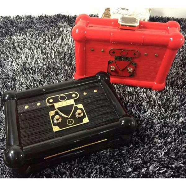Designer-Famous Brand Acrilico Borse da sera Lettera L Qualità elegante Candy Clutch Handbag CASE Borsa di profumo Crystal Chain Messenger - AL