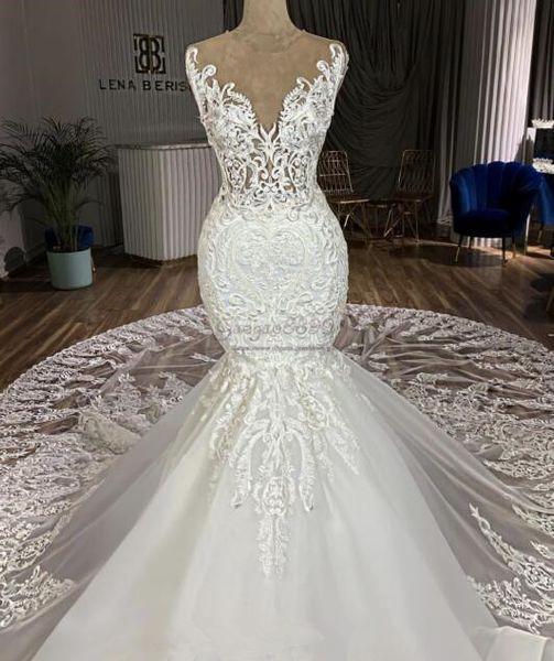 2019 сексуальные русалка свадебные платья часовня поезд 3D кружева аппликации шеи жемчужина великолепная иллюзия кружева свадебные платья индивидуальные vestidos de novia