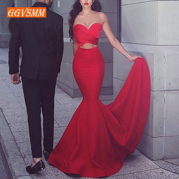 Fashion Red Mermaid Long Dresses Evening Gowns Sweetheart Zipper Banquet Slim Fit Women Party Formal Dress Q190530