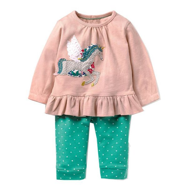 Çocuklar Kız Iki parçalı Takım Çocuk Uzun Kollu Setleri Çizgili Kol Nokta Kazak Pantolon Karikatür Fare Cep Çiçek Baskı Pantolon 6