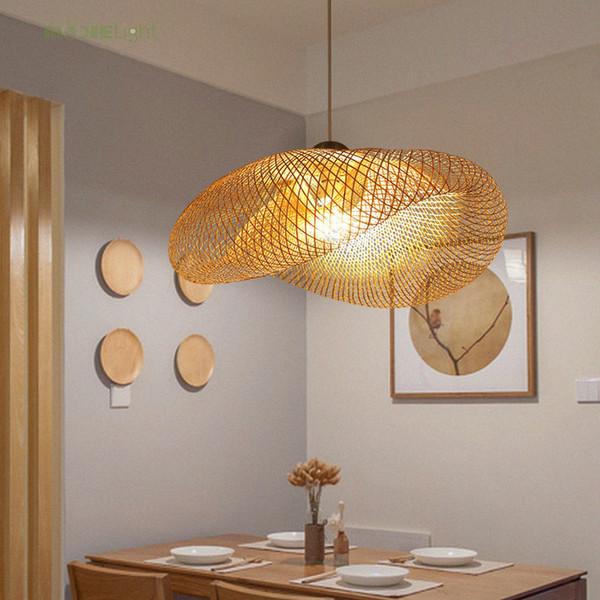 Vime de bambu Rattan Onda Sombra Pingente de Luz Luminária Rústico Do Vintage Japonês Lâmpada Suspensão Casa Sala de Jantar Interior Mesa
