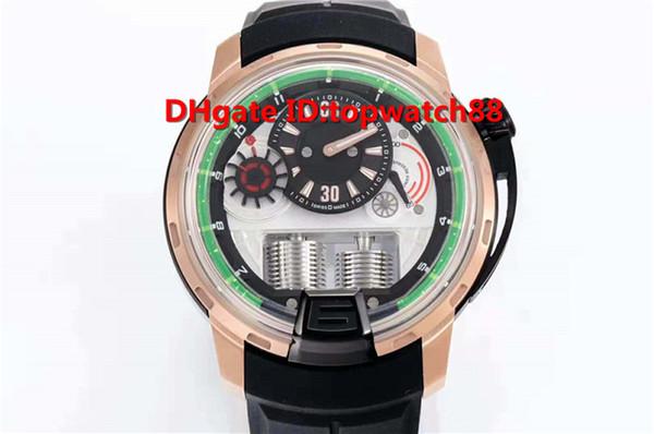 CY Top Luxury Watch Swiss NH05 Automatico Vetro zaffiro Cassa in oro rosa Cinturino nero con cinturino in caucciù con fibbia trasparente Orologio da uomo