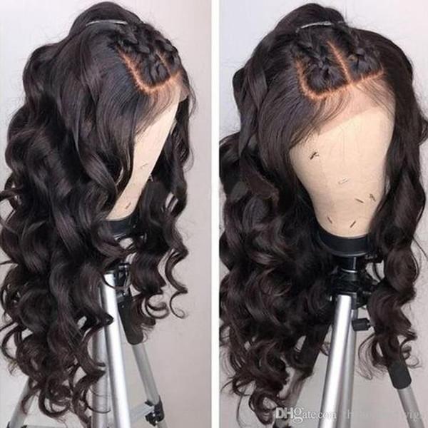 Cabelo virgem Transparente Lace Wig solto Aceno brasileira Cabelo Humano Pré-arrancada Glueless perucas completas do laço transparente para mulheres brancas