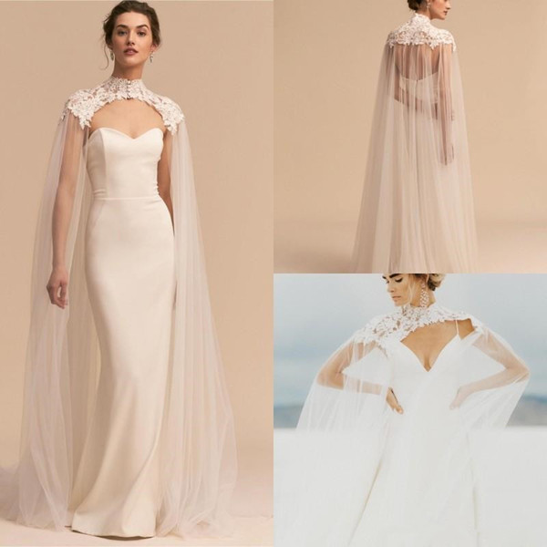 2019 Newest Bridal Wraps Tulle Long High Neck Wedding Cape Lace Jacket Bolero Wrap White Ivory Women Bridal Accessories covered buttons