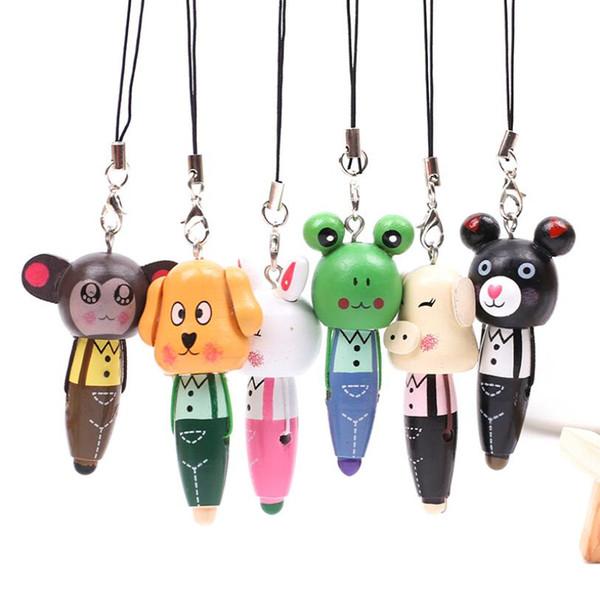 Mini Ballpoint Pen School Supply Creative Stationery Freebie Novel Office Gift Wood Cartoon Animal Mini Phone WJ080