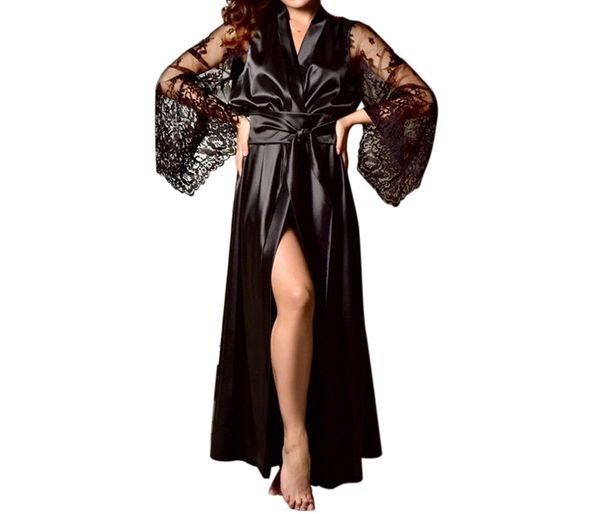 Women Satin Long Nightdress Silk Lace Lingerie Nightgown Sleepwear Sexy Robes Lace Sleece Bathrobe Lingerie Night Gown Thong