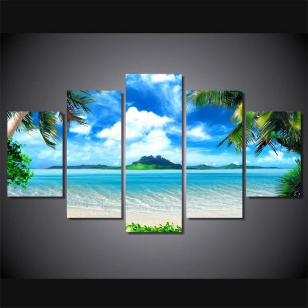 Strand Blauen Himmel Palm Trees, 5 pezzi HD Canvas Printing Nuova decorazione della casa arte pittura / senza cornice / incorniciato