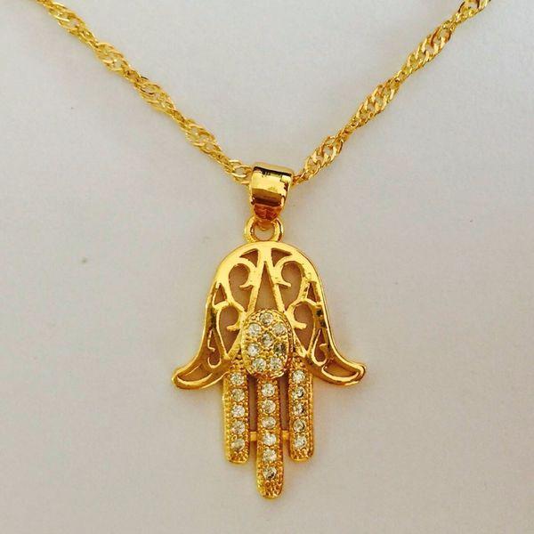 Key4fashion Hexagram & Hamsa Hand Pendant Necklace Women,Magen David Necklace Gold/Silver Plated Jewelry Islam Arab,Jewish Star,Palm Shaped