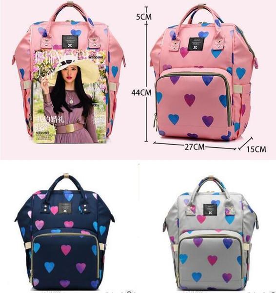 Bolsa de pañales para el corazón Mochila para mujer Impermeable Viaje Amor Corazón Moda Mamá Bolsas de lactancia Cuidado para bebés Bolsa multifunción de gran capacidad