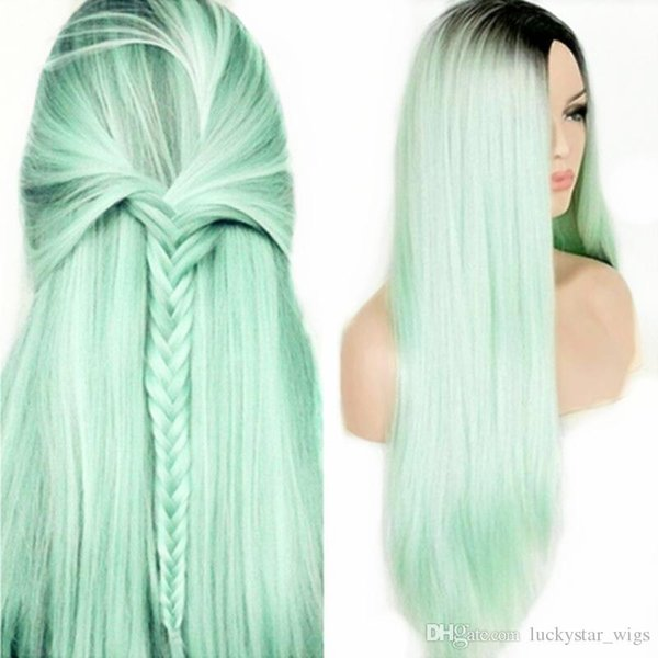 Nouveau Style Deux Tons Ombre Cheveux Synthétiques Avant de Lacet Perruques Vert Clair Longue Ligne Droite Résistant À La Chaleur Partial Cosplay Femmes Perruques