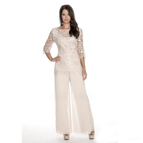 Yüksek Kalite Dantel Anne Gelin Pant Suits Sheer Bateau Boyun Düğün Konuk Elbise İki Adet Artı Boyutu Şifon Anneler Damat Elbiseler