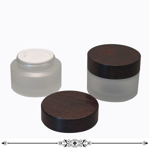 105pcs 30g 50g Glass Bottle with Black Wooden Cap Natural Wood Lid Frost Glass Jar Cosmetics Cream Packing Container