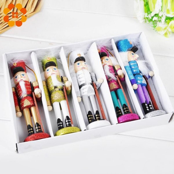 5 шт. творческий ручной Щелкунчик кукла настольные подарки игрушки декор дерево рождественские украшения рисунок грецкие орехи солдат группа куклы