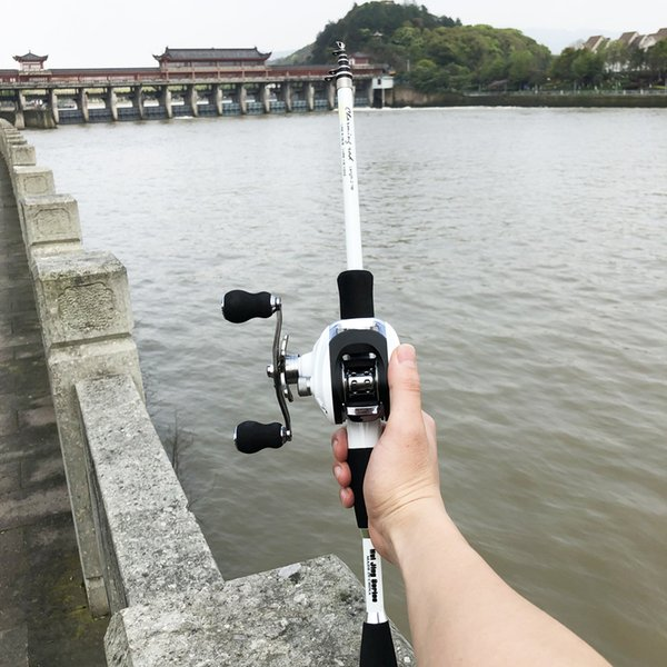 1.8-2.4m short carbon ultralight bait casting fishing rod combo 17+1bb 6.3:1 left right reel lure boat rock stick pesca pole thumbnail