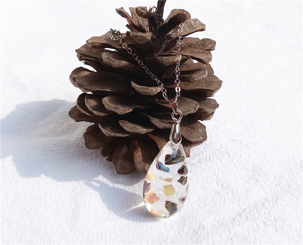 shell pieces resin water pendant necklace friends charms in crystal jewelry pendant necklaces jewellery for woman and kids