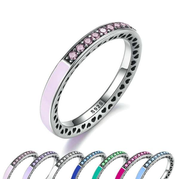 Autentico anello in argento sterling 925 per pandora gioielli europei Radiant Hearts Anello smalto blu celeste con spinello sintetico