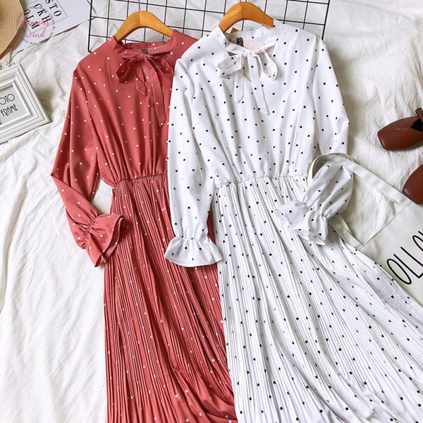 women spring long sleeves polka dots long dress vintage plaid pattern bow knot collar pleated elegant vestidos mujer designer clothes
