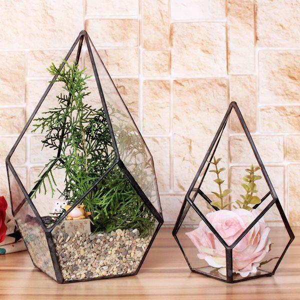 Wholesale-Modern Artistic Klarglas Geometric Terrarium Vier-Oberflächen Diamant Sukkulente Farn Moos Plant Terrarium Bonsai Blumentopf