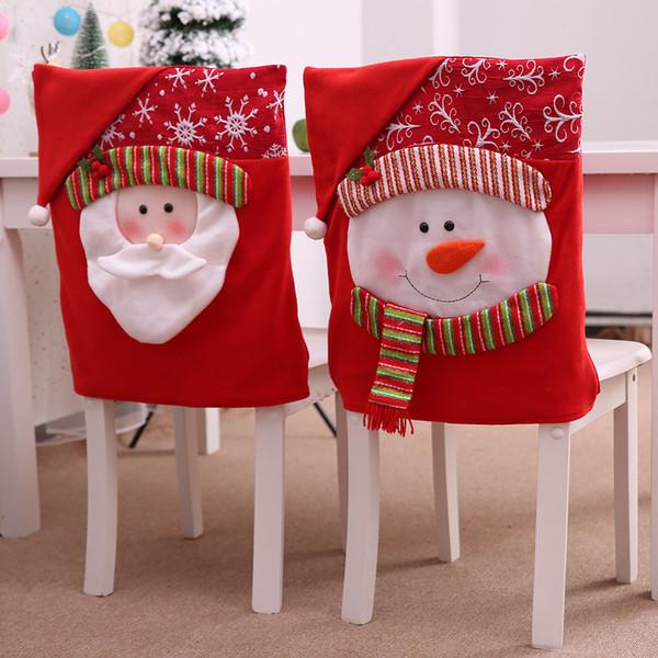 1pc Decorazioni di Natale per la casa Chair Natale Ornamenti rossi di Babbo Natale del pupazzo di neve Stampa di natale decorazioni di Natale degli accessori