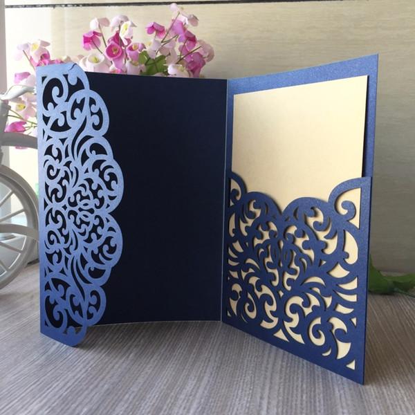 20 adet / grup Lazer Kesim Dantel Tasarım Kişiselleştirilmiş Düğün Davetiye Tebrik Nimet Kartı Rsvp Kartları T8190617