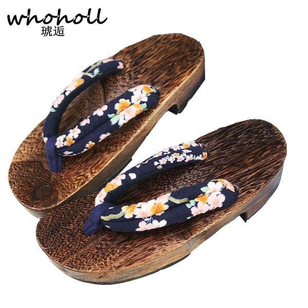 Whoholl Japanese Geta Sandals Women Comiket Coser Cosplay Acg Wooden Slippers Anti Skid Floral Clog Slippers Flip Flops Slides Waterproof Boots