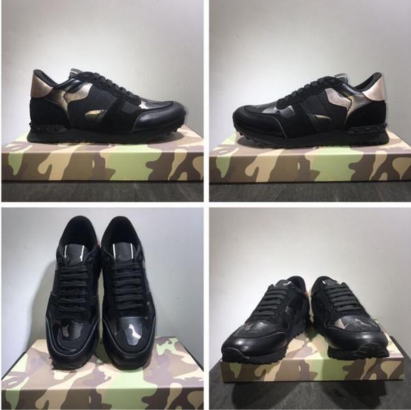 19Nuove scarpe [scatola originale] Moda Stud Camouflage Sneakers Scarpe Calzature Uomo, Donna Appartamenti Designer di lusso Scarpe da ginnastica Rockrunner Scarpe casual