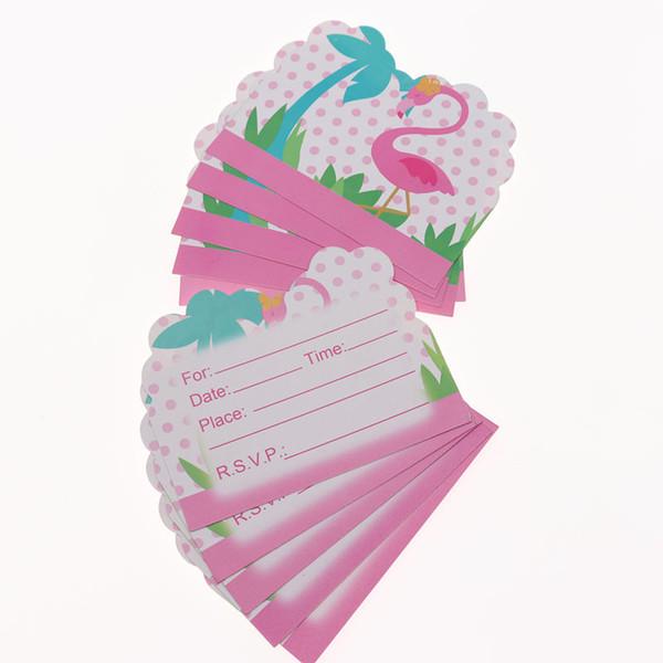 Compre Flamingo 10 Piezas Tarjeta De Invitación De Fiesta De Dibujos Animados Cumpleaños De Niños Evento De Navidad Suministros De Fiesta Decoración