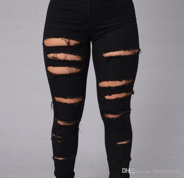 R456 High Street Kadınlar Skinny Jeans Seksi Ripped Cilt Sıkı Jeans Moda Siyah Beyaz Kalem Denim Pantolon