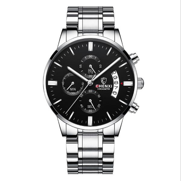 Comercio al por mayor Luxurywatches impermeable calendario de negocios luminosa sincronización calendario acero sólido mariposa doble botón reloj de cuarzo 1B