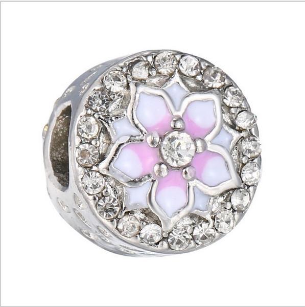 bracelet pandora argent sterling 925 Magnolia Bloom Charm pâle Cerise émail rose perle européenne fit collier 792085PCZ