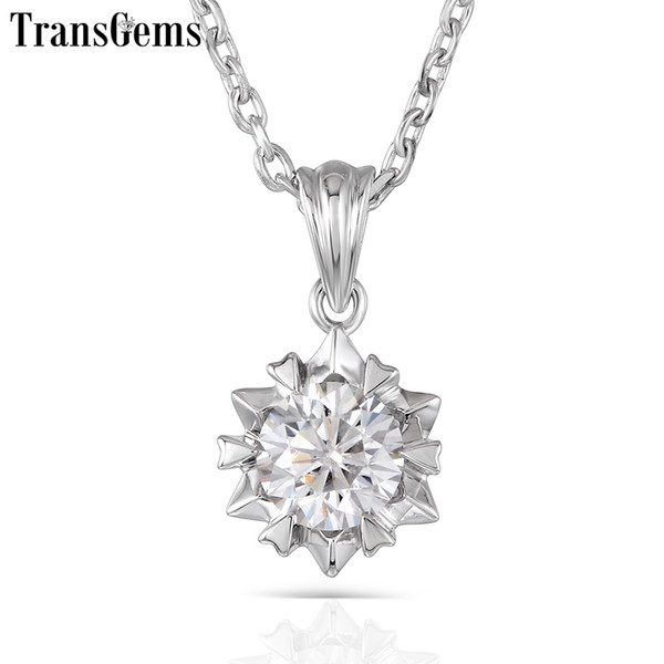 Transgems 1ct 6.5mm H Color Moissanite Pendant Necklace Platinum Plated Silver With Platinum Plated Silver Chain For Women Y19032201