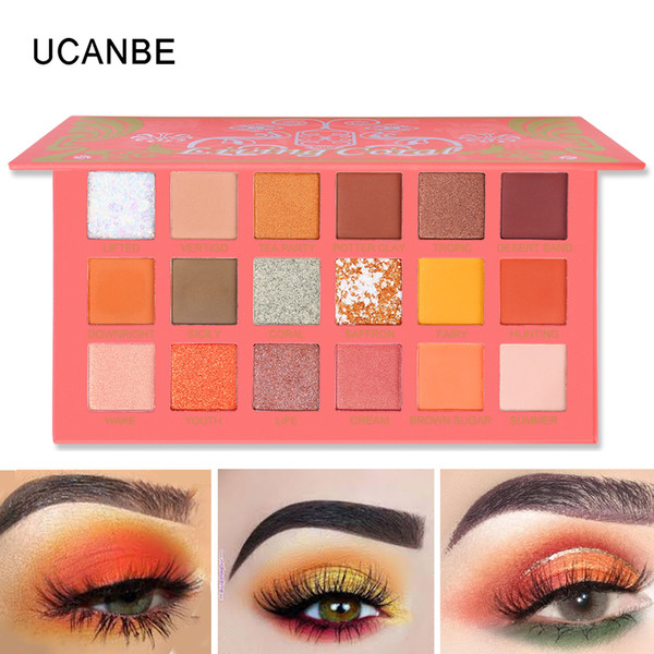 UCANBE Coral Eye Shadow Palette Matte Shimmer Glitter Orange Yellow Color Summer Makeup Look Pearlescent Pigment Eyes Cosmetics