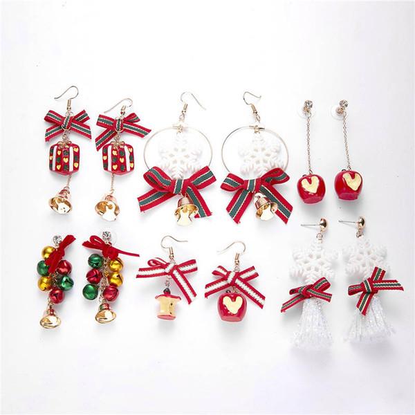 Nouveau cadeau de Noël Eve Mesdames flocon de neige bowknot Boucles d'oreilles de Noël de Bell Boucles d'oreilles cadeau pour les femmes Mode Nouvel An Bijoux DHL