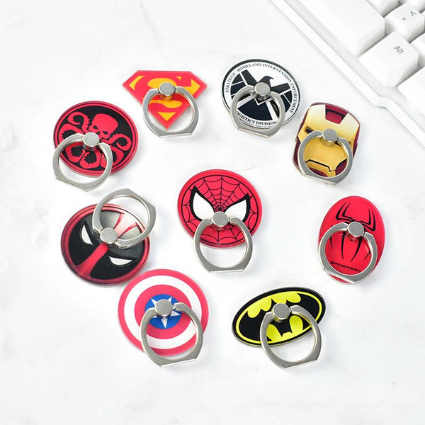 Wholesale Universal Metal Acrylic Finger Ring buckle Mobile Phone Holder Stands cute Batman Ironman Spiderman Pattern Smartphone Supports