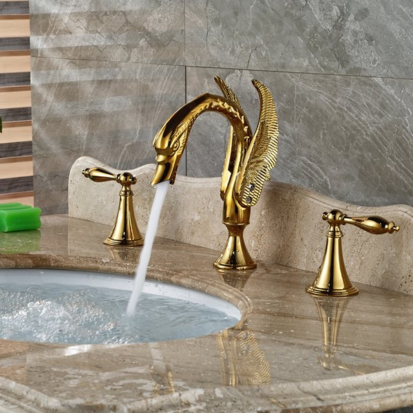Peachy 2019 Deck Mount High End Bathroom Sink Mixer Faucet W Hot Cold Water Taps Gold Finish From Qushimei88 255 28 Dhgate Com Download Free Architecture Designs Grimeyleaguecom