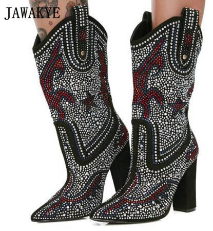 2019 Rhinestone Ankle Boots Women Pointed Toe Diamond Crystal Flower High  Heel Boots Women Cowboy Boots For Women Cheap Shoes Womens Shoes From