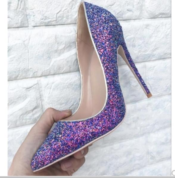 neue Art purpurrote Pailletten Schuhe mit hohen Absätzen Frauen feine Ferse Flache Spitze Hochzeitsschuhe 10cm roter unterer Nachtklubbrautbankett Größe 44