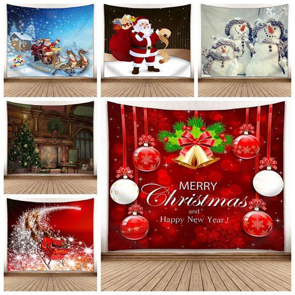150 * 130cm de Noël Tapisserie Arbre de Noël Bonhomme de neige mur Tapis 3D d'impression numérique Tenture Couverture serviette décoratifs pour la maison Tapisseries GGA2754