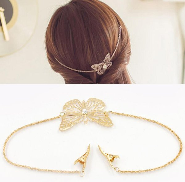 Gold Plated Hollow Butterfly Hairbands Women Girls Headhand Bridal Wedding Jewelry Hair Bands with Hair Clips